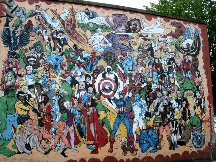 Old school pizzeria comic book mural mars will send no more for Comic book mural