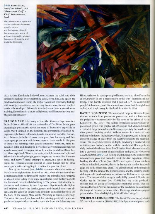 art history book - franz marc fates of animals