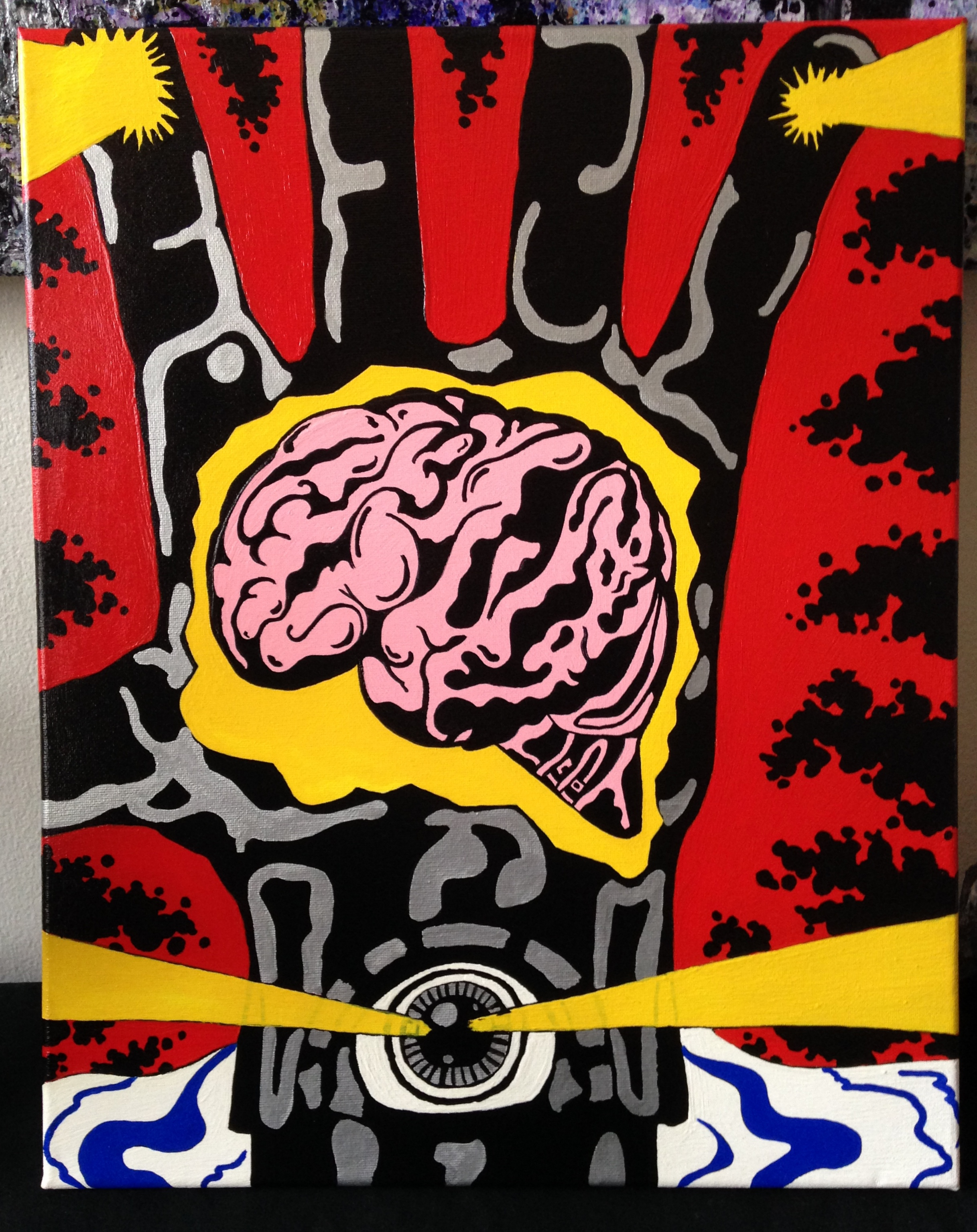 for sale behold the awesomizer comic book pop art painting inspired by jack kirby 16 20. Black Bedroom Furniture Sets. Home Design Ideas