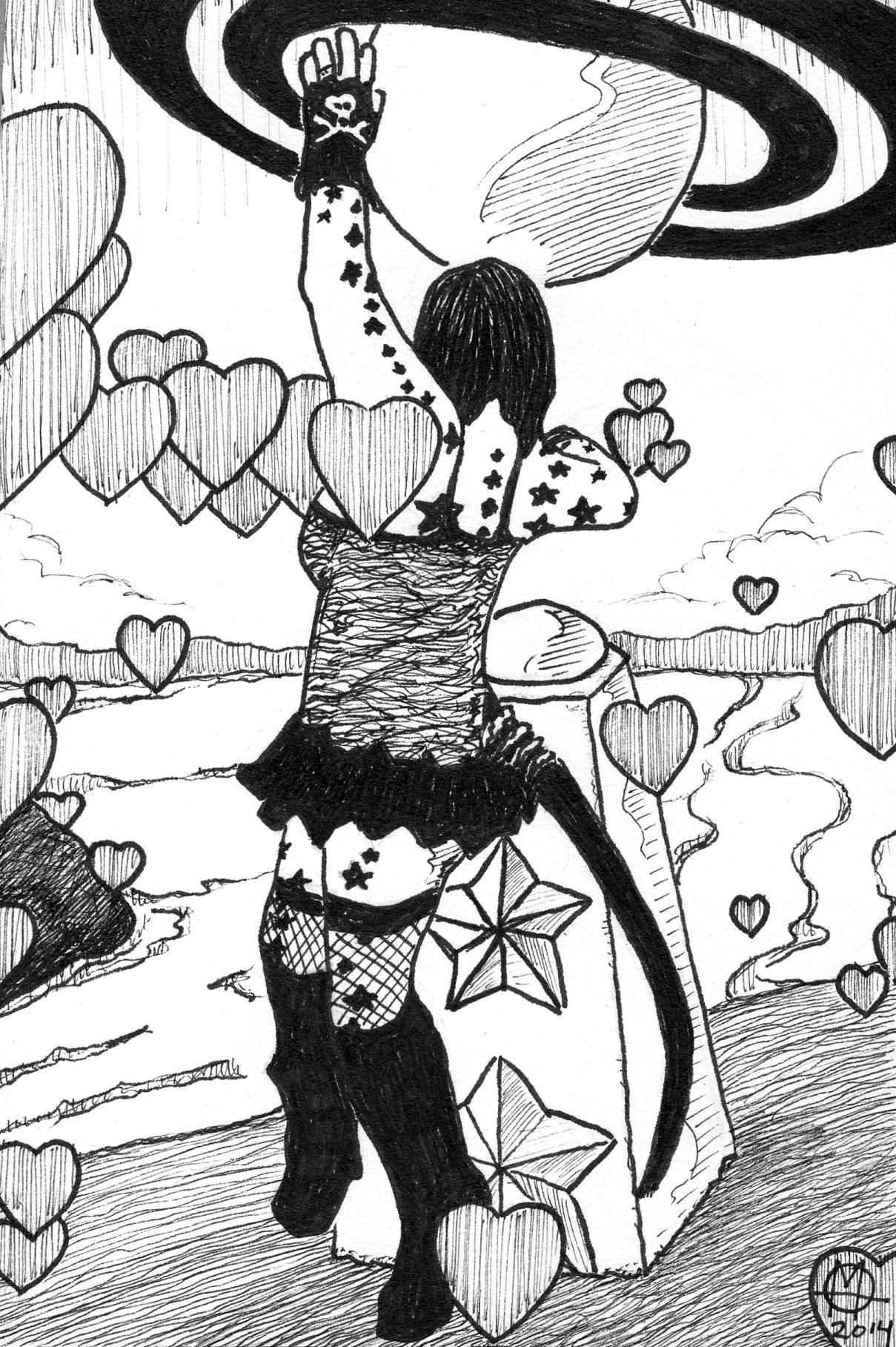 dancing girl ink drawing - Copy