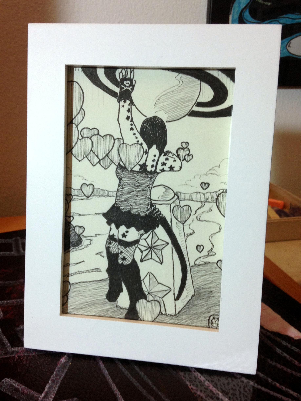 dancing girl ink drawing framed - Copy
