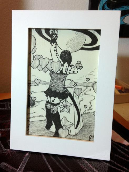 dancing girl ink drawing framed - Copy