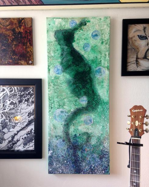 seahorse painting in progress