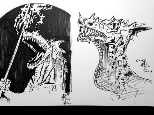 dragon sketches for meteor mags