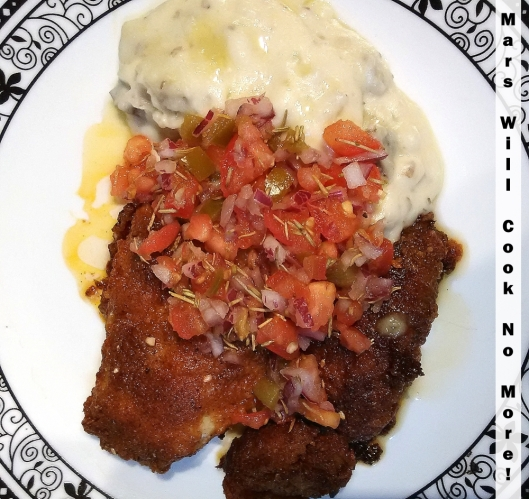 battered cod garlic mashed potatoes